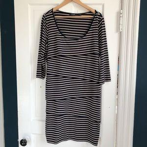Eloquii Navy/Tan Striped Tiered Dress, Size 14/16